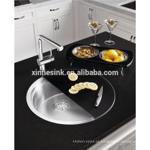 Pia de cozinha redonda de aço inoxidável com sombra na moda