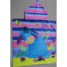 (BC-PB1012) Poncho de plage 100 % coton imprimé à chaud pour enfants