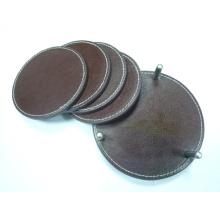 Conjunto de copos de couro genuíno, esteira do copo, almofada do copo CS-002