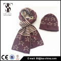 100% Acrylic Material and Medium Style knitting scarf jacquard beanie