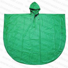 Cheap Promotional Green PVC Hooded Rain Poncho for Children