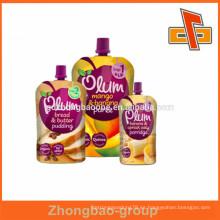 Venta caliente y hermosa bolsa de la bebida de impresión con embalaje de chorros para el pudín de frutas