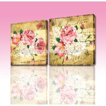 Großhandelsqualitäts-Druck ausgedehnte Kunst-Segeltuch / kundengerechte Hauptdekorative antike Blumen-Wand-Anstrich 2pcs / set
