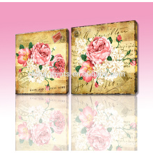 Wholesale High Quality Print Stretched Art Canvas/Customizable Home Decorative Antique Flower Wall Painting 2pcs/set