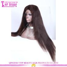 Qingdao top qualité raw non transformés long noir droite cheveux brésiliens dentelle perruque avant