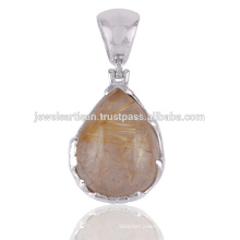 Rutilated Gemstone 925 Solid Silver Pendant Jewelry