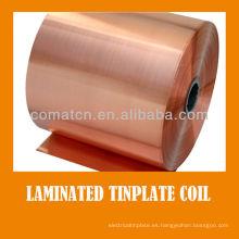 Bobina de hojalata de barniz laminado de color dorado para metal puede empaquetar