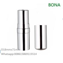 Caja de lápiz labial de plata de aluminio de lujo para maquillaje