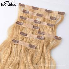 Лучшее Европейское Качество 613 Блондинка 100% Человеческих Реми Клип Наращивание Волос Запутывает Свободно Линять Бесплатно