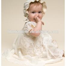 Vestido Da Princesa Da Menina Da Criança Para 0-2 Anos de Idade Do Bebê Da Menina Do Bebê Batismo Vestido de Batismo Vestido Pageant Com chapéu