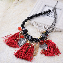 New 2015 High Quality Wholesale Jewelry Red Cotton Tassel Black Beads Necklace