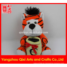 Boa qualidade animais de pelúcia brinquedo tigre de pelúcia tigre caixa de moeda banco de tigre
