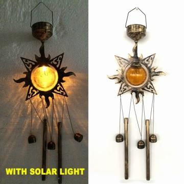 Beliebte Metall Sunface Garten Glas Ball Solar Powered Wind Glockenspiel Handwerk