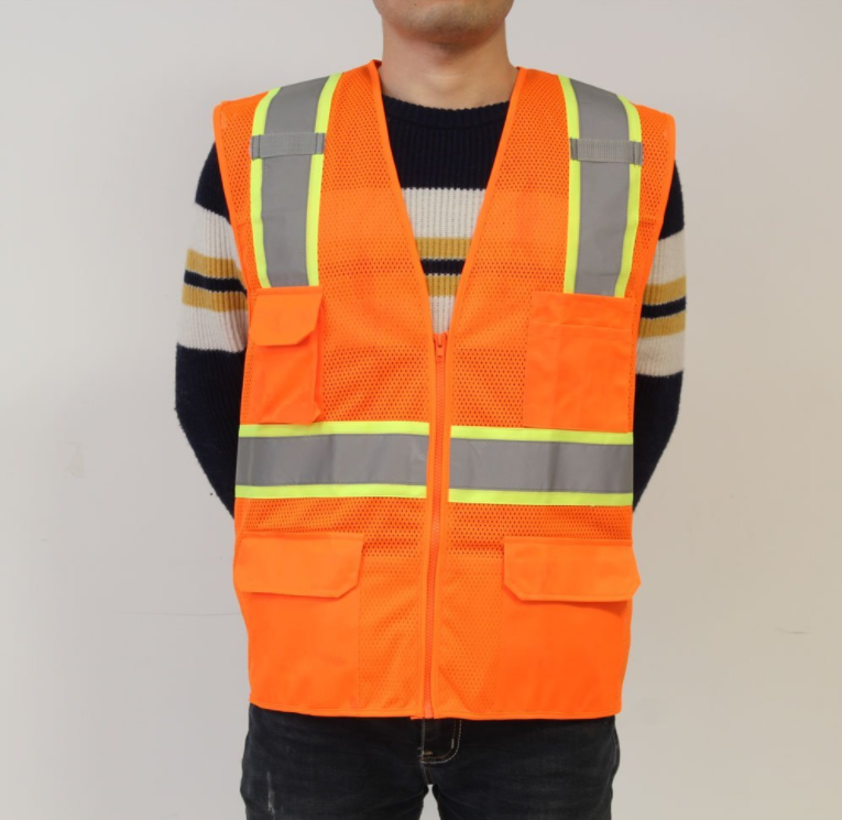 Unisex hochsichtbare Warnweste Hohe Sichtbarkeit Warnweste Reflektierende Weste Rei/ßverschluss Sicherheitswesten EN ISO 20471 Mehrere Farben L, Orange