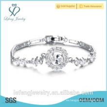 Pulsera de la boda de la joyería del brillo pulsera plateada platino de calidad superior