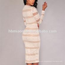 Vestido de una pieza de manga larga de encaje de Sriped Boutique suave Vestido de mujer sexy