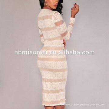 Um mangas compridas de uma peça Sriped Lace Moda Boutique Soft Dress Mulheres Sexy