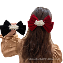 New Pearl Flannel Red Black Big Hair Barrettes Bow Knot Fashion Accessories Hairpin Korean Luxury Spring Clip