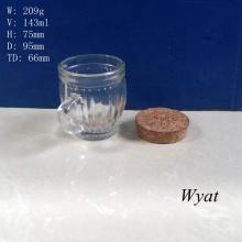 150ml Glass Pudding Cup Milk Glass Cup 5oz Glass Yogurt Handle Cup
