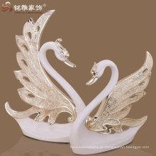 casamento decoração delicada resina arte do cisne figura decoração de interiores de alta qualidade