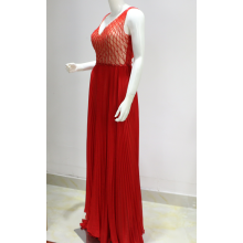 Fashion wanita red tulle beaded Evening Dress