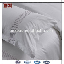 Hot Sale White Sateen Fabric with Embroidery Logo Hotel Pillow Case