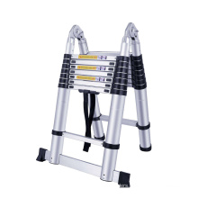 2.5+2.5  meters aluminium double telescopic ladder with hinges joints