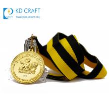 Wholesale cheap custom metal zinc alloy embossed logo gold plating 3d medal for souvenir