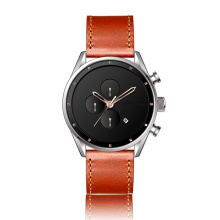 japanese automatic soft leather strap black men watch