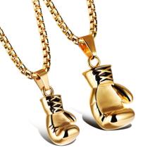 Collier pendentif en or argent noir arc-en-gant de boxe