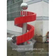 Aço inoxidável chuva cortina escultura fonte / estátua ao ar livre