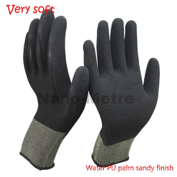 NMSAFETY 13 gauge sandy work glove water pu palm for sale gardening glove