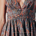 Double Layer Tiger Print Ruched Summer Boho Mature Sexy Party Dress