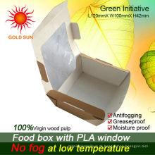 Embalagem da caixa do alimento com a janela antifogging