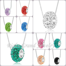 Crystal Clear Pavimentada Big Hole Spacer Beads Europeu Estilo Europeu Crystal Charm Beads