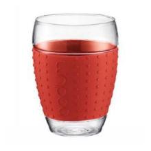 Tasse à thé en verre à paroi simple Borosilicate 250 ml avec bande en silicone