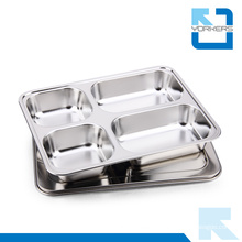 Hot Selling 4 Dividers Stainless Steel School Fast Food Lunch Tray with Lid Food Tray