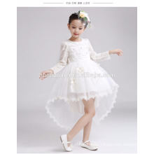 Long sleeve beaded lovely girls wedding dress winter and autumn fishtail hand made baby girl dress for party and wedding