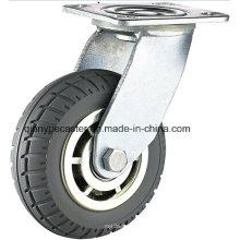 Rueda de PU gruesa resistente de la alta calidad con la rueda de la llama del freno