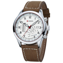 Nya Casual Leather Men Quartz Armbandsur