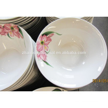 Home daily use ceramic soup bowl with flower printing