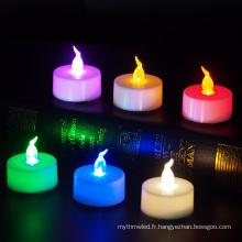 Bougie chauffe-plat sans flammes LED scintillante à piles