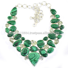 Малахит & зеленый аметиста 925 Серебряный ювелирных изделий ручной работы