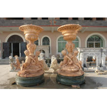 Large Marble Flowerpot with Children Statue
