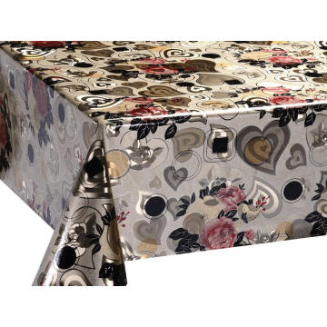 Double Face Emboss printed Gold Silver Tablecloth Quotes