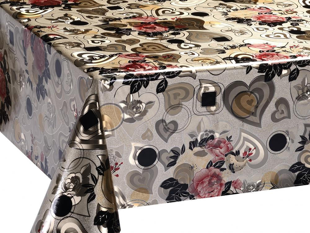 Metallic Emboss printed Gold Silver Tablecloth 1