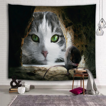 Cat Look at Scared Mouse Tapestry Animal Unique Wall Hanging 3D Print Wall Tapestry for Kids Livingroom Bedroom Home Dorm Decor