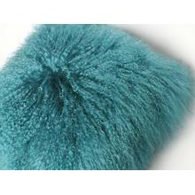 Tibetansk Lamb Fur Pillow Turkos