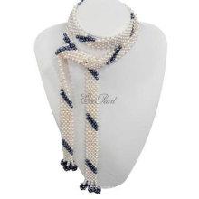 Schal Süßwasser Perle Halskette E13106