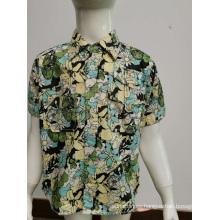Camisa casual con estampado de popelina de algodón para niños